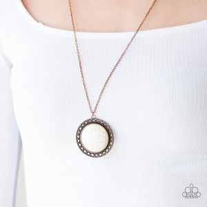 NWT Copper White Crackle Stone Necklace Earring